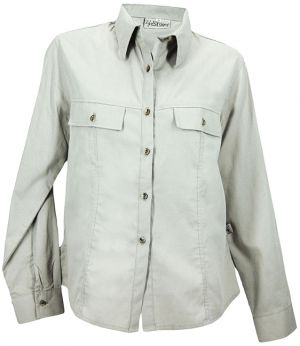 STOCK - LADIES PANELLED BUSH SHIRT, LS WITH ROLL UP SV TABS