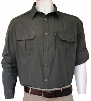 STOCK - MENS LS SHIRT, CHEST PASSPORT ZIP PCKT