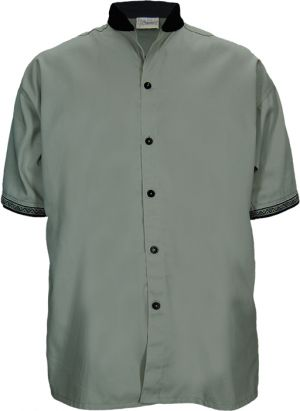 MENS MANDARIN COLLAR BUTTON SHIRT SS