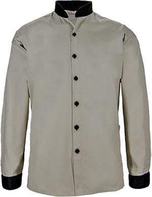 MENS MANDARIN COLLAR BUTTON SHIRT LS