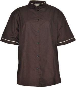 LADIES MANDARIN COLLAR SS SHIRT