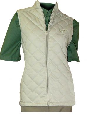 LADIES QUILTED S/LESS JACKET, LONGER LENGTH