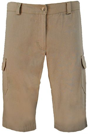 LADIES CARGO CAPRI PANTS - LOW RISE - FLAT FRONT