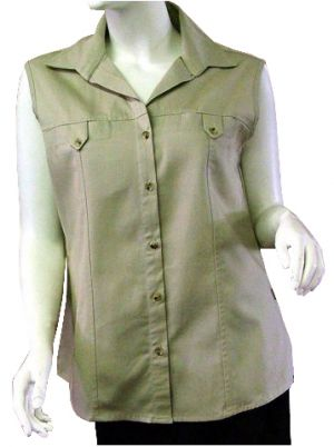 LADIES TAB POCKET SHIRT SLEEVELESS