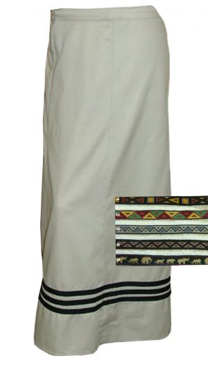 LADIES 8 PANEL ANKLE LENGTH WRAP SKIRT WITH WOVEN TAPE TRIM