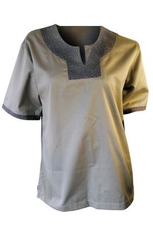 UNISEX TUNIC SS WITH SHWESHWE TRIM - SERVICE STAFF