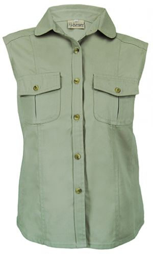 LADIES BUSH SHIRT WITH A ROUNDED COLLAR SLEEVELESS