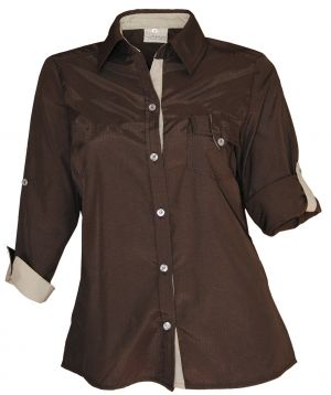 LDS 3/4 SLEEVE SHIRT WITH FOLDOVER CUFF