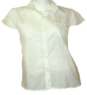 LADIES CAP SLEEVE SHIRT WITH PLEATED DETAIL - COTTON RANGE