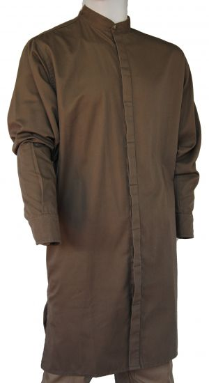MENS LONG LENGTH MANDARIN COLLAR SHIRT LS