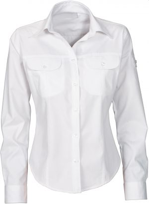 LDS COTTON TWILL 2 PKT SHIRT, LS