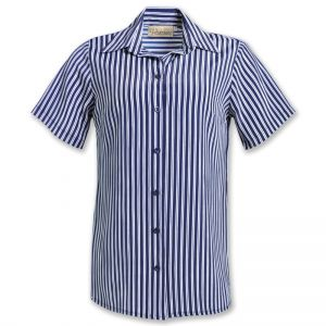 LDS SHORT SLEEVE STRIPE BLOUSE, RELAX FIT
