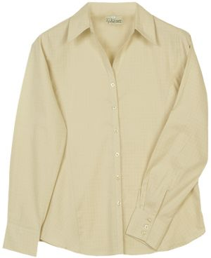 LDS COTTON  CHECK BLOUSE, LS