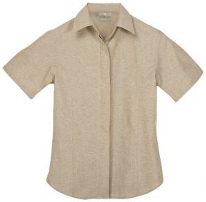 LADIES CONCEALED BUTTONED SS OXFORD SHIRT