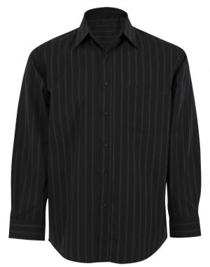 MENS VERTICAL STRIPE LOUNGE SHIRT LS