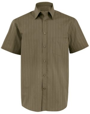 MENS OLIVE SUBTLE STRIPE COTTON HIRT SS