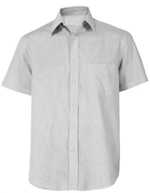 MENS SS POLYCOTTON LOUNGE SHIRT WITH STRIPE PATTERN