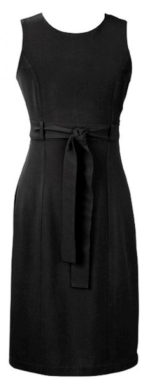 LADIES SLEEVELESS DRESS WITH SELF FABRIC WAIST TIE