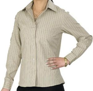 LDS VERTICAL STRIPE SHIRT LS