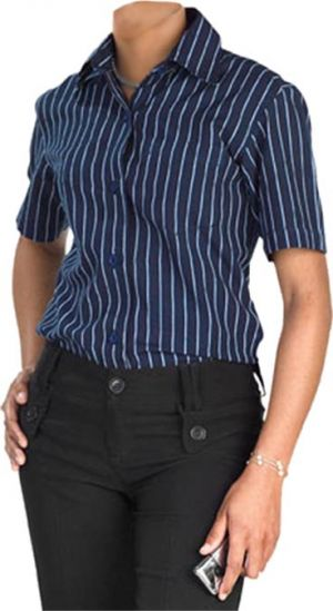 LADIES VERTICAL STRIPE SS SHIRT