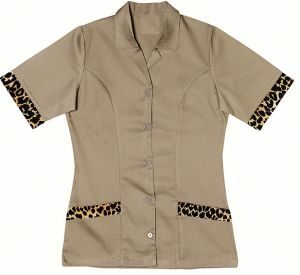 LADIES LONG LENGHT SHIRT SS WITH LEOPARD CONTRAST