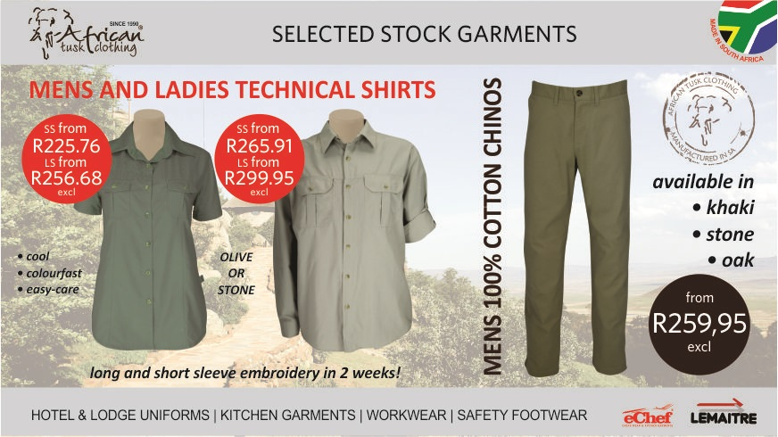 Stock with 2 week delivery for embroidered stock garments