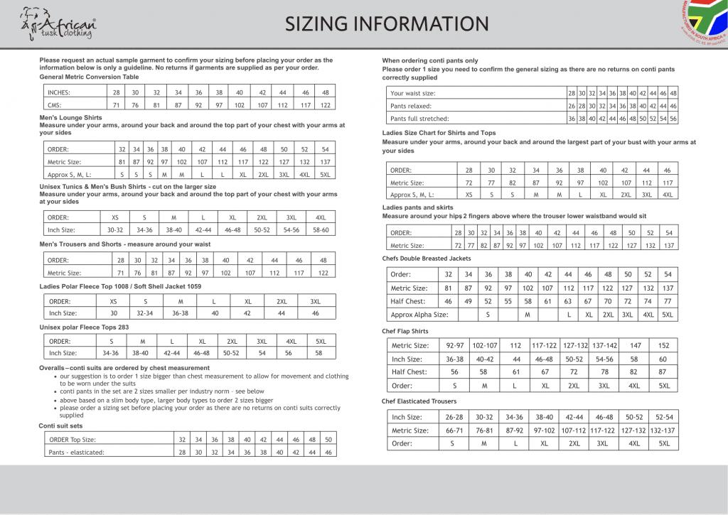 Sizing Information